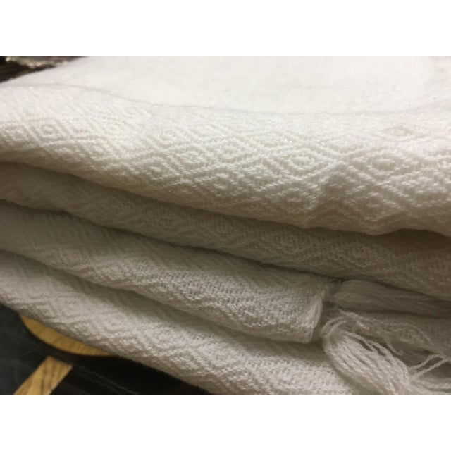 White Tassel Cashmere Blend Blanket - Image 5 of 11