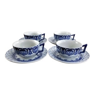 Vintage Bombay Company Adelaide Blue and White Tea Cups & Saucers - Service for 4 For Sale