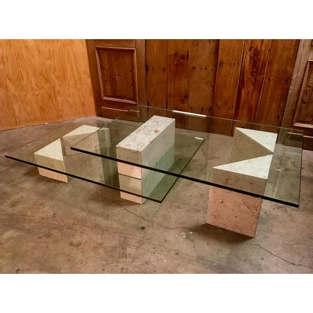 Wood And Metal Multi Level Coffee Table.Mid Century Modern Multi Level Marble And Glass Coffee Table
