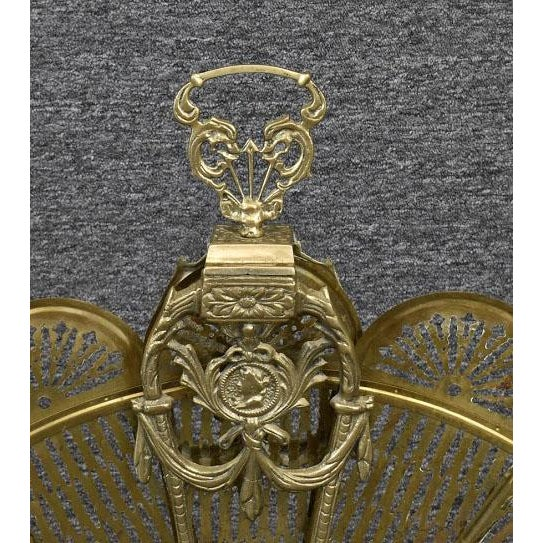 Brass Vintage 1900's Victorian Peacock Brass Fireplace Screen Summer Cover For Sale - Image 8 of 12
