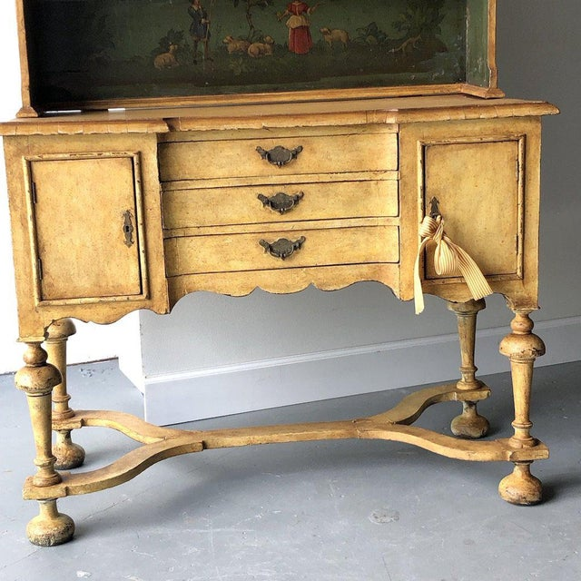 American Classical 19th C. Continental Motif Painted Cupboard For Sale - Image 3 of 7