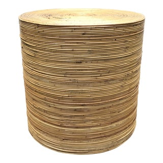 Vintage Gabriella Crespi Style Pencil Reed Rattan Table For Sale
