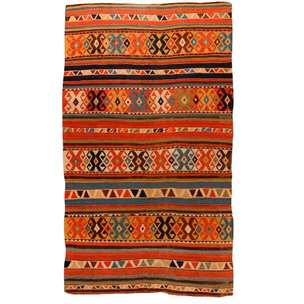 Antique Mid-19th Century Caucasian Kilim Carpet For Sale