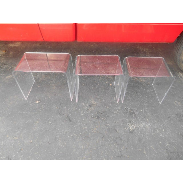 Vintage Clear Acrylic Nesting Tables - Set of 3 For Sale - Image 5 of 5