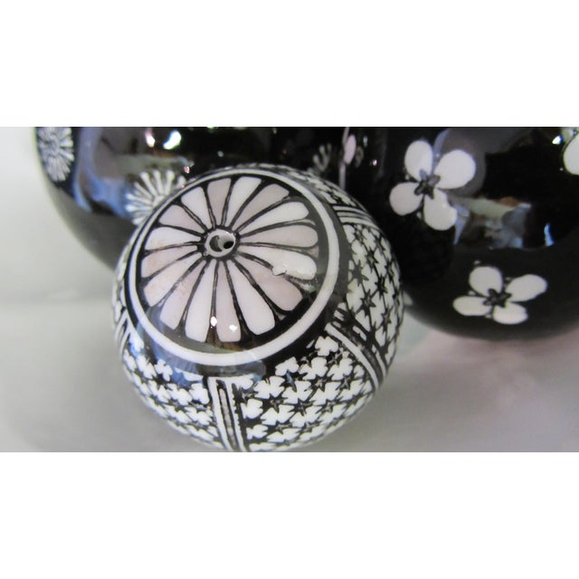 Scalloped Compote & Hand Painted Ceramic Orbs For Sale - Image 5 of 5