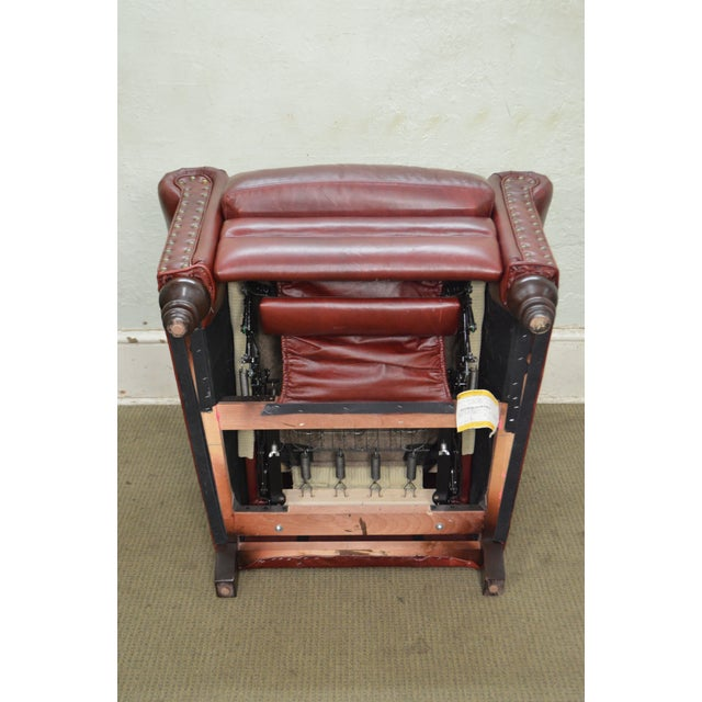 Bradington Young Oxblood Leather Recliner Lounge Chair - Image 9 of 10