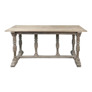 Antique Rustic Country French Whitewashed Sofa Table For Sale