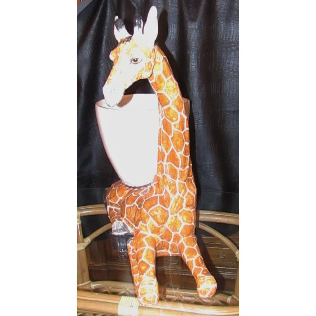 Italian Large Italian Ceramic Giraffe Statue Planter For Sale - Image 3 of 7