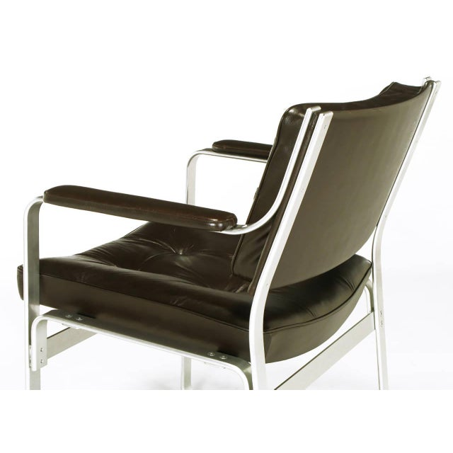 Pair Karl-Erik Ekselius Leather and Aluminum Mondo Armchairs For Sale In Chicago - Image 6 of 9