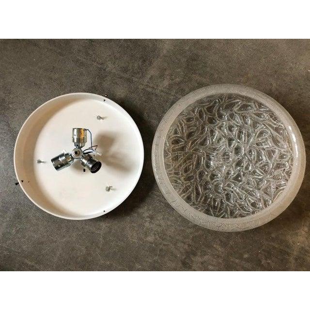 Metal Mid-Century Modern Doria Leuchten Flushmount Chandelier in Glass and Brass For Sale - Image 7 of 9