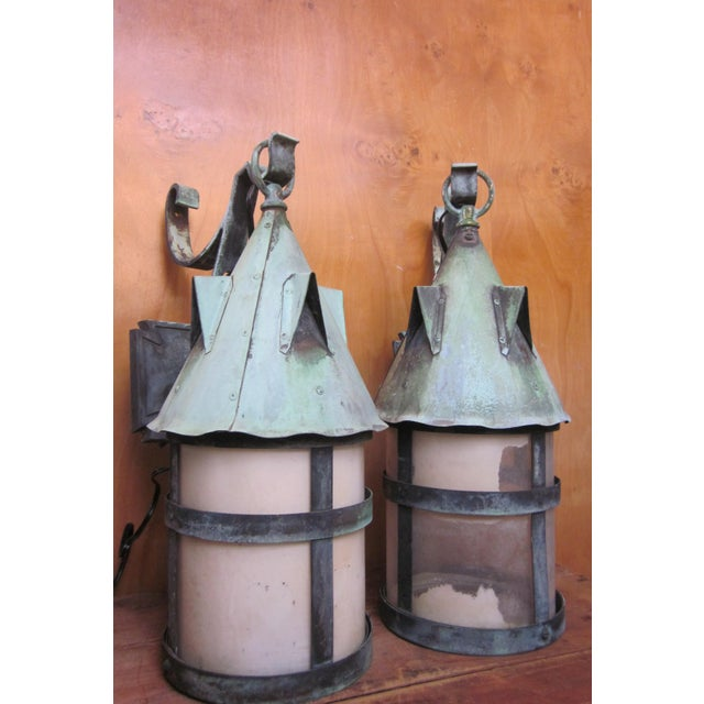 Arts & Crafts 1910s Arts and Crafts Era Mission Style Verdigris Patina Laterns-a Pair For Sale - Image 3 of 13