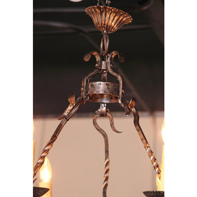 Gray Early 20th Century French Wrought Iron Six-Light Chandelier With Fleur-De-Lys For Sale - Image 8 of 10