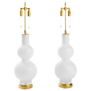 Large Italian Pair of White Glass Lamps For Sale