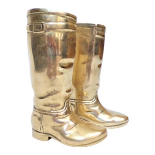 1980's Ralph Lauren Brass Riding Boot Bookends For Sale