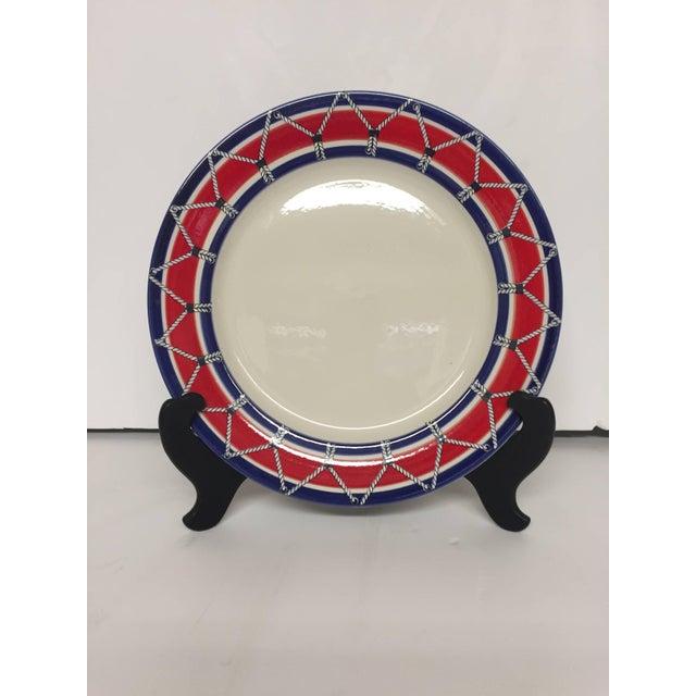 Red White and Blue Mancioli Drum Motiffe Dinnerware For Sale In Philadelphia - Image 6 of 11