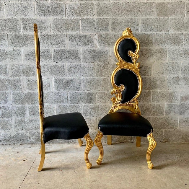 Wonderful Italian Baroque Chairs. The hand carved massive frame was recently finished in high-end quality gold leaf and...