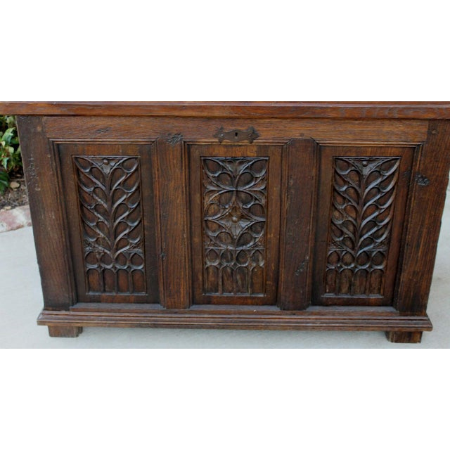 Antique French Oak 19th Century Gothic Coffer Chest Blanket Box Trunk For Sale In Dallas - Image 6 of 12