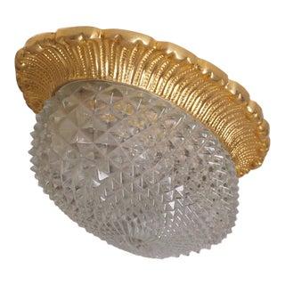 1 of 2 Glass Flush Mounts or Sconces on Gold-Plated Base by Glashütte Limburg For Sale