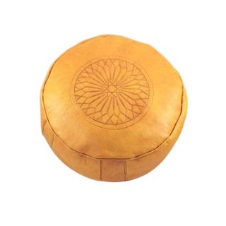 Modern Yellow Leather Moroccan Pouf Ottoman For Sale