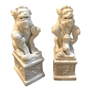 1950s Blanc De Chine Ceramic Foo Dogs - a Pair For Sale