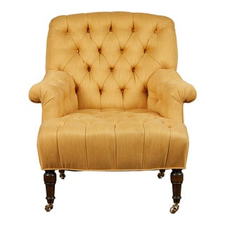 Tufted Mustard Upholstered Clubchair on Casters For Sale