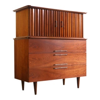 Tall Mid Century Modern Tv Console/ Tall Dresser by Young For Sale