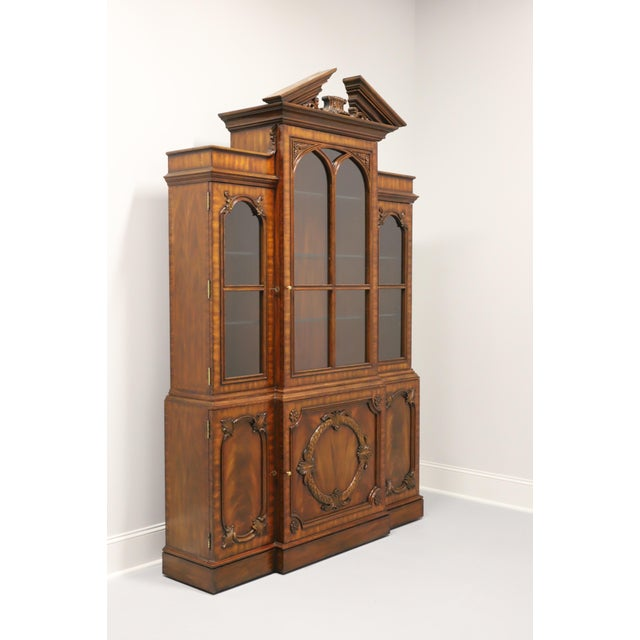 Maitland Smith Aged Mahogany Chippendale Breakfront China Cabinet For Sale - Image 13 of 13