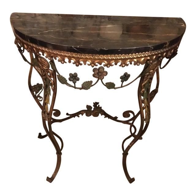 20th Century Hollywood Regency Iron Demi-Lune Hall Table With Black Marble Top For Sale