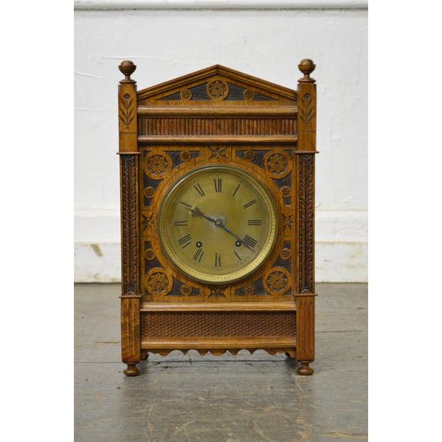 *STORE ITEM #: 16897-fwmr Antique Aesthetic Walnut Mantel Clock attributed to Daniel Pabst AGE / ORIGIN: Approx. 125...