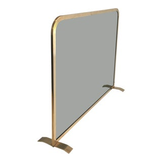 1970's French Brass and Smoked Glass Fire Screen For Sale