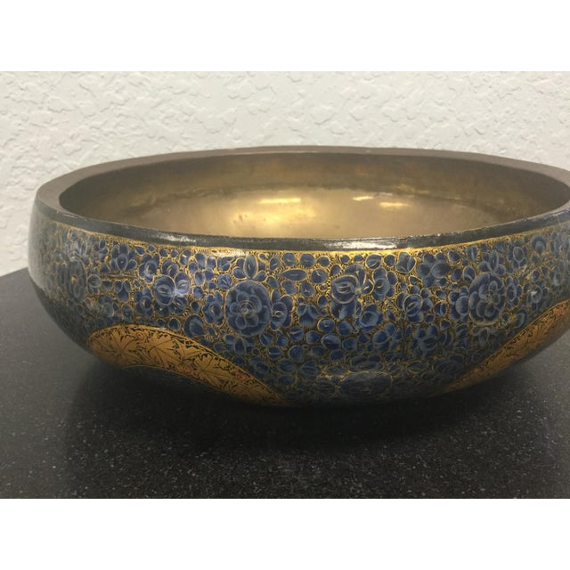 Early 20th Century Antique Indian Kashmir Lacquer Paper Mache Bowl For Sale - Image 5 of 12