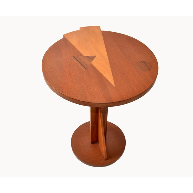 Mid-Century Modern Round Mahogany Wood Marquetry Side / Cocktail Table Italy For Sale - Image 11 of 13