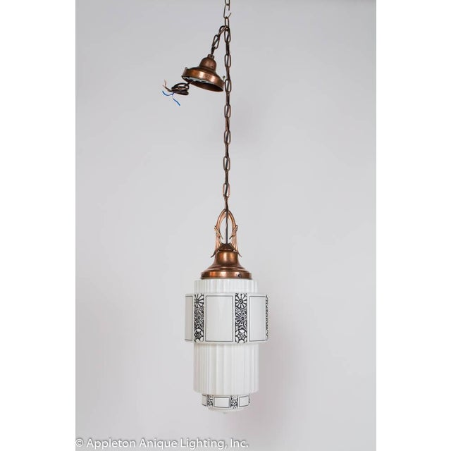 Art Deco Restored Art Deco Milk Glass Pendant With Copper Fixture For Sale - Image 3 of 8