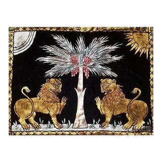 Ruggero Lions Silk Velvet Pillow - a Pair For Sale