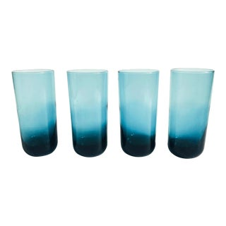 Mid Century Tall Teal Tumblers - Set of 4 For Sale