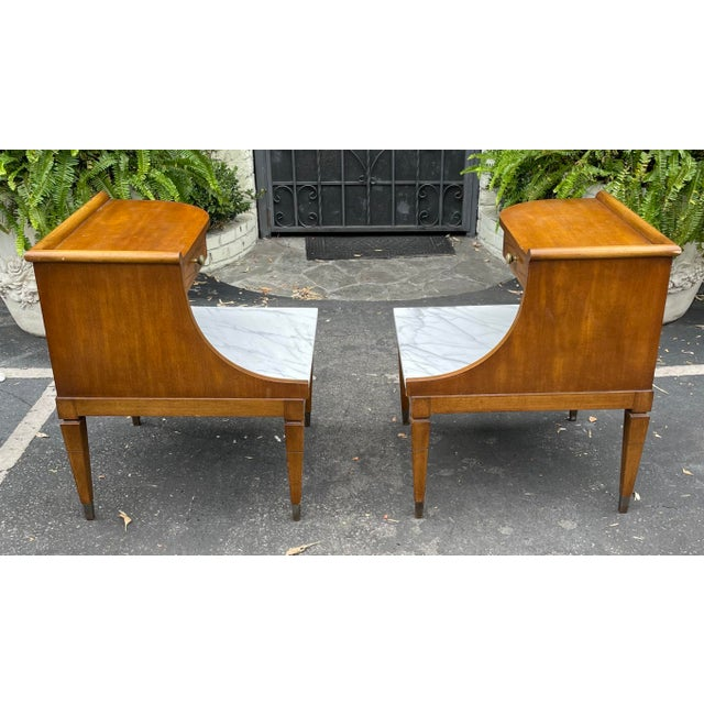 Metal Grosfeld House Hollywood Regency Mid Century Modern Empire Walnut & Marble End Tables - a Pair For Sale - Image 7 of 8