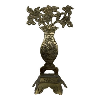Vintage Brass Flower Vase on Stand For Sale