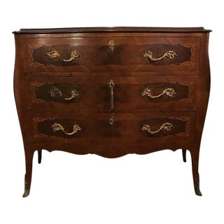 Vintage Inlaid French Style Commode Dresser For Sale