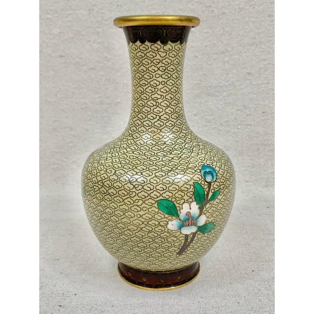 Asian Vintage Floral Cloisonne Vase For Sale - Image 3 of 10
