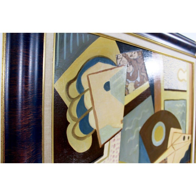 Mid 20th Century Cubist Style Framed Painting Signed H. Riedel For Sale - Image 5 of 10