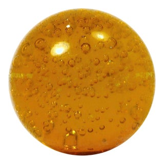Godinger Amber Glass With Bubbles Paperweight