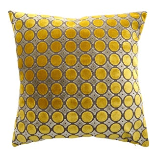 Italian FirmaMenta Yellow and Gray Luxurious Polka Dot Velvet Pillow For Sale