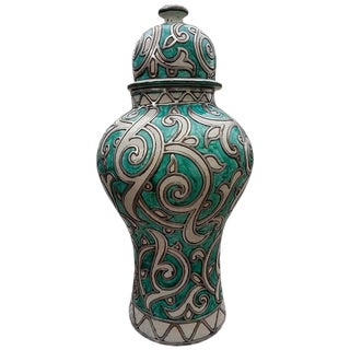 Moroccan Medium Hue Turquoise Vase For Sale