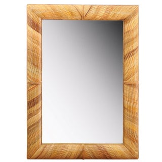 Beautiful Restored Vintage Mirror in Bamboo