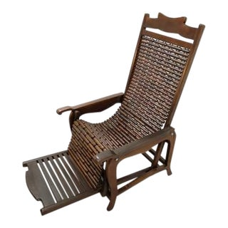 Unique Vintage Mid-Century Wooden Outdoor Patio Recliner Chair For Sale