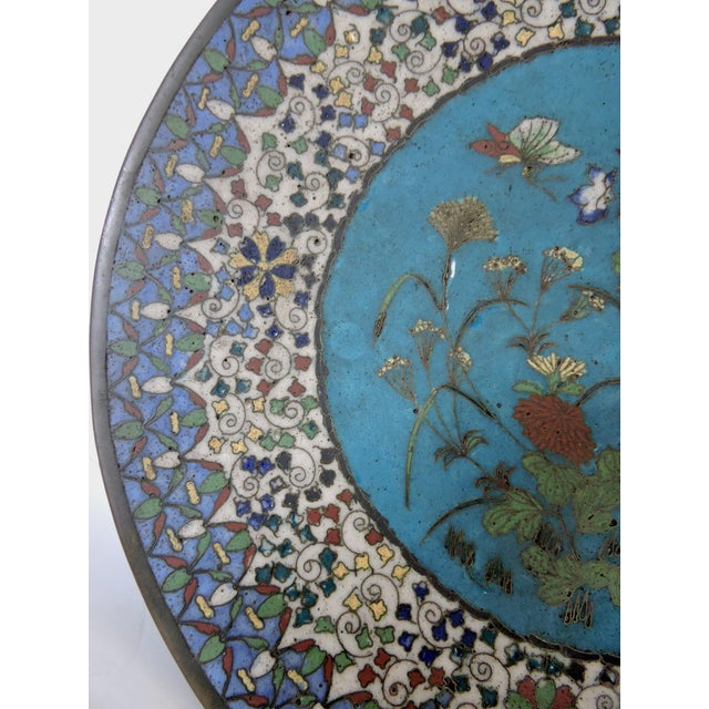 19th Century Japanese Cloisonne Bronze Floral Plate, Meiji Period For Sale - Image 4 of 6