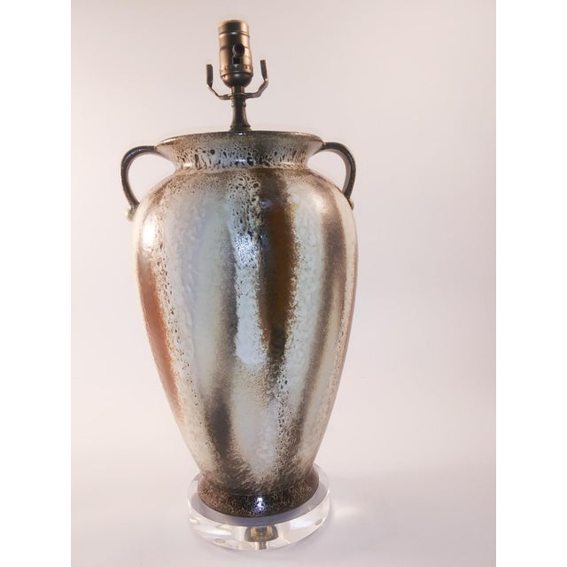 White Electrified Mid-Century Lava West German Vase For Sale - Image 8 of 8