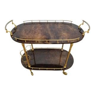 Aldo Tura Italian Brown Goatskin Brass Bar Cart