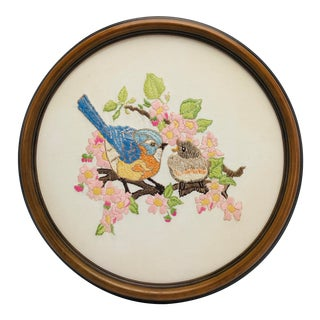 Mid Century Birds Robins on a Branch Embroidery Medaillon Framed For Sale