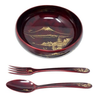 Vintage Japanese Lacquerware Salad Serving Bowl and Utensils - Set of 3 For Sale